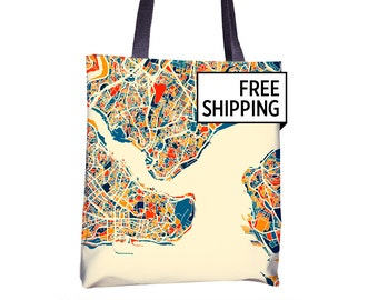 Istanbul Map Tote Bag - Turkey Map Tote Bag 15x15