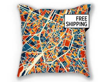 Bruxelles Map Pillow - Belgium Map Pillow 18x18
