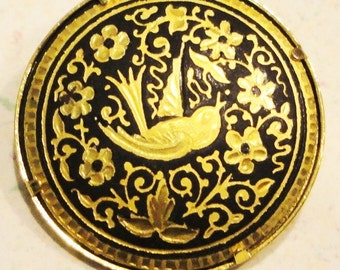 DAMASCENE Toledo Spain Bird Round Vintage Brooch Gold Plated