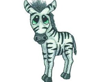 Big Eyed BabyZebra Embroidered Iron On Applique Patch