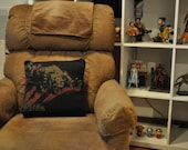 Recycled T-shirt Pillow - 16x16 video game pillow with removable cover