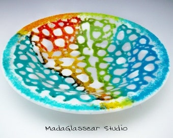 Rainbow Frit Lacey Fused Glass Bowl