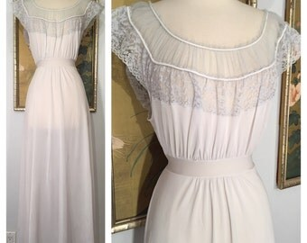 1950s Nightgown by Miss Swank's Nystrom -- Sheer and Lacy with Gorgeous Details