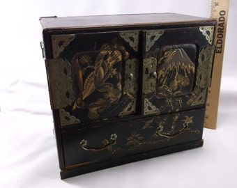 Jewelry Box Antique Asian Chest Wood Brass Hardware 7 Drawers Gorgeous.epsteam