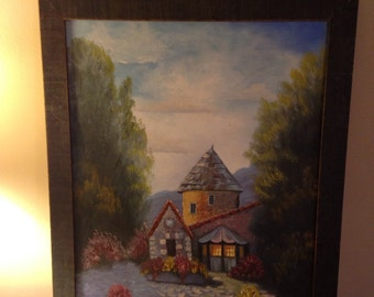 ENGLISH CASTLE OIL Painting with walnut wooden frame