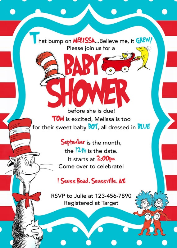 dr. seuss baby shower invitation cat in by littlegermanboutique, Baby shower