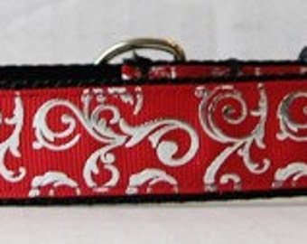 Holiday dog collar/leash sets, Red and Silver collar, Collar, Silver and red dog collars, Holiday Pet items,