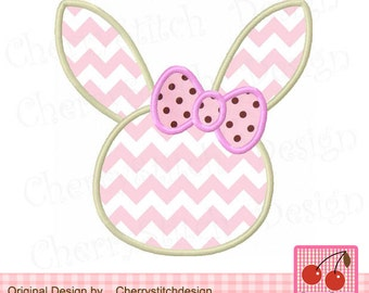 Easter Bunny Silhouette Machine Embroidery Applique Design EAS03-4x4 5x5 6x6 inch