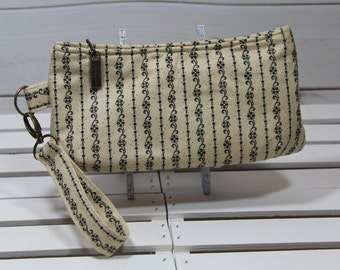 Wristlet Clutch Wallet, Vegan Wristlet Clutch, Vegan Purse Clutch, Vegan Clutch Wristlet, Antique Tea Stained and Floral Stripe Clutch