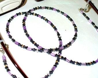 1 necklace black lilac 74 cm (36)