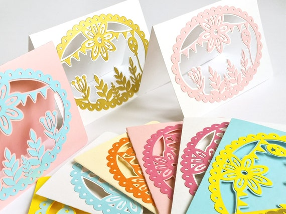 paper cut greeting invitation card choose your color - B6 size 5.1x4inch set of 6