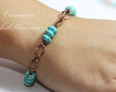 Turquoise Blue Gemstone and Antiqued Copper Link Bracelet, Native American Turquoise Gemstone Link Bracelet, Southwestern Turquoise Bracelet