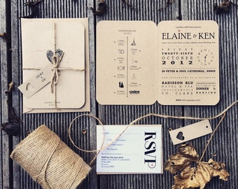 Kraft wedding invite | Etsy