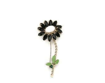 Vintage Gold Tone Daisy Black Rhinestone and Emerald Rhinestone Brooch