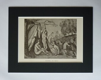 1920s Antique Paul Cézanne Print of Bathers, Post Impressionist Bathing Decor, Available Framed, French Art, Wild Swimming Gift for Swimmer