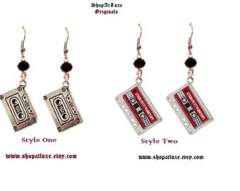 Newly Styled Retro Cassette Tape Crystal Topped Earrings