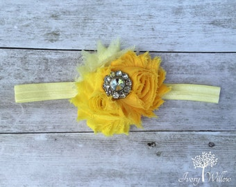 Yellow Flower Headband - Yellow Ombre Headband - Flower Headband - Rhinestone Headband - Baby Headband - Adult Headband