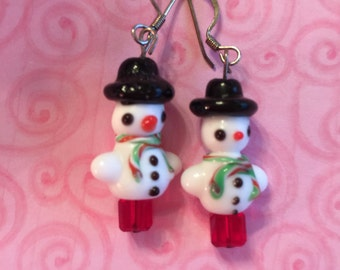 Snowman Christmas Earrings with Black Hat