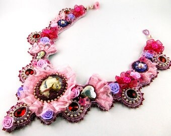 Collier, Necklace, bead embroidery, lace, floral, Sailor Moon