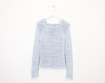 on sale - light blue knit mesh sweater / fitted see-through pullover / size M
