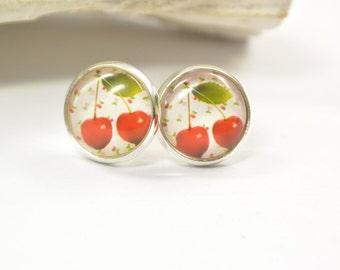 Earrings Cherry red 60s Glass