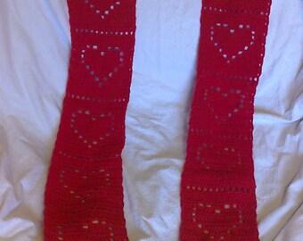 Beautiful hearts hand crochet scarf
