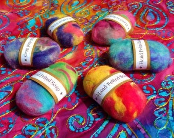 Felted wool soap, set of 6, assorted colors, hand felted soap  Oregon, Pacific Northwest