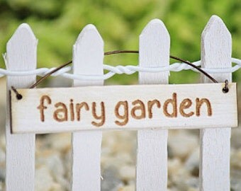 Fairy Garden Sign - fairy accessories - fairy accessory - small hanging sign - miniatures for terrarium - hand made handcrafted sign