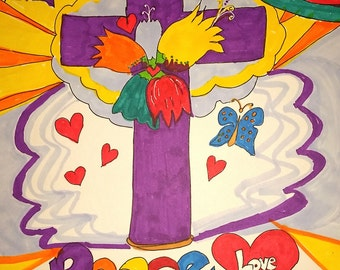 Peace and Love Cross PRINT. Restoration of the Cross Series