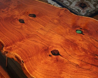 Live Edge Texas Mesquite table with Bowties and Turquoise made by Swamphouse Woodworks