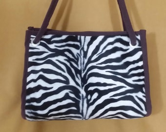 Zebra microsuede handbag