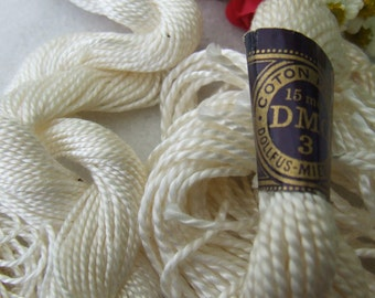 Vintage French White Embroidery Floss Skeins DMC Dollfus-Mieg & Cie Coton Perle