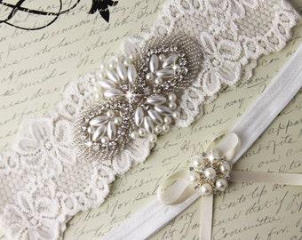20% OFF Ivory Lace Bridal garter Set, Lace Wedding Garter Set, Ivory Bridal Garter, Ivory Wedding Garter, Personalized Garter, Pearl Garter
