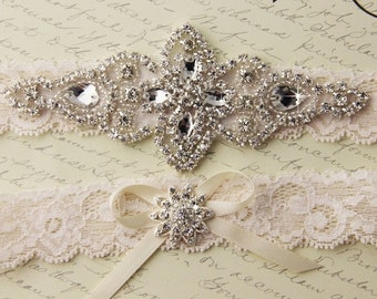 20% OFF Ivory Lace Garter Set, Lace Wedding Garter set, Rhinestone Garter, Ivory Garter Set, Lace Bridal Garter Set, Personalized Garter