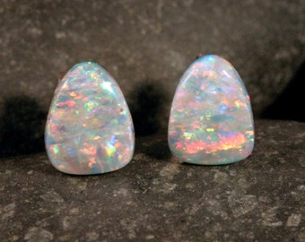 Sterling Silver Australian Opal Triangle Stud Earrings, #101-00238