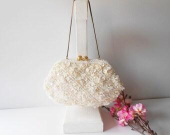 White Evening Bag Vintage Beaded Clutch Handbag Wedding Bridal Pearl Beaded Purse EB-0045