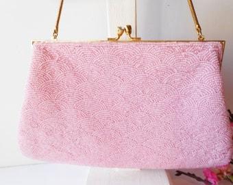 Pink Evening Bag Vintage Pink Beaded Purse Clutch Handbag Wedding Bridesmaid Purse EB-0036