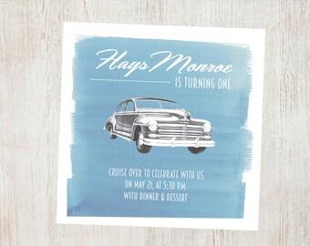Vintage Car Birthday Invitation