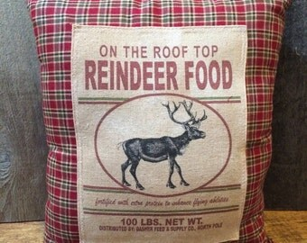 On Top of the Roof Top Reindeer Food Sack Pillow