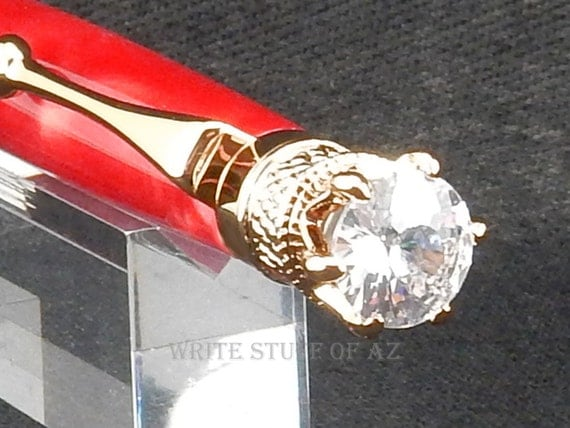 Ruby Red Satin Twist Pen, Adorned with Swarovski Crystal and Finished in 24k Gold
