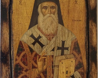 Saint St. Nectarius / Nektarios - Orthodox Byzantine icon on wood handmade (22.5cm x 17cm)