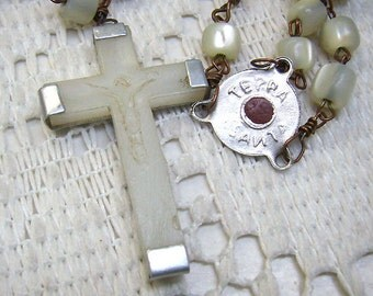 Sale...Vintage JERUSALEM Rosary... Mother of Pearl Beads...Two Sided Medal...Jerusalem Cross/Terra Santa...Catholic