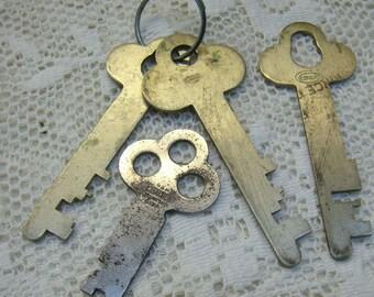 Vintage Lot of Safety Deposit Box  Keys...FOUR (4) Silver Metal Keys...Corbin Keys...Jewelry Making Keys