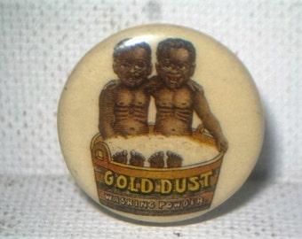 Antique celluloid pinback Gold Dust Twins washing powder near mint!