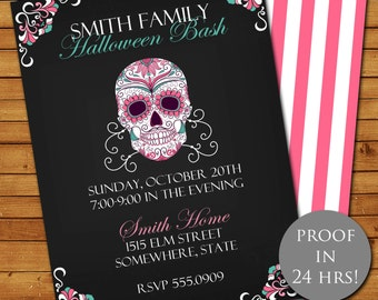 Halloween Day of the Dead Party Invitation, Halloween Invitation, Skeleton Invitation, Sugar Skull, Skeleton, Printable