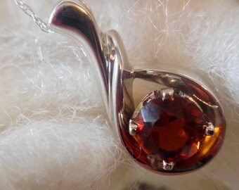 14K White Gold Vintage Burnt Citrine Swirl Necklace (st - 1377)