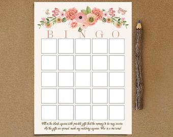 INSTANT DOWNLOAD - Baby shower BINGO game, girl, pink, floral