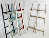 "Antique Wood ""Handy Man"" Ladder back wall shelf 58""  - Choose a Vintage Surface or Pick a Color"