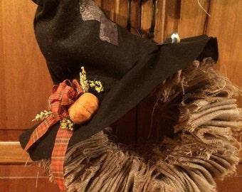 Burlap Ragged Scarecrow Wreath