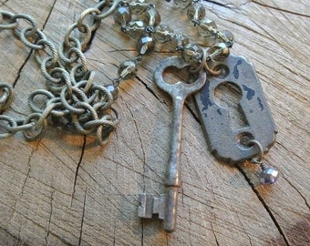 Skeleton Key and Key Cover Necklace, Key Hole, Antique Vintage, UPcycled, Repurposed, Silver Brass, Steampunk, Authentic By UPcycled Works